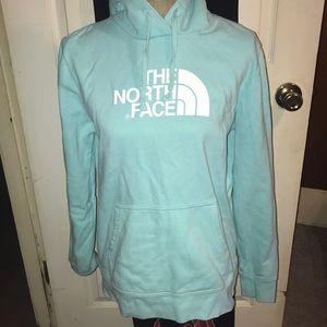 Light blue  large hooded  North Face sweatshirt